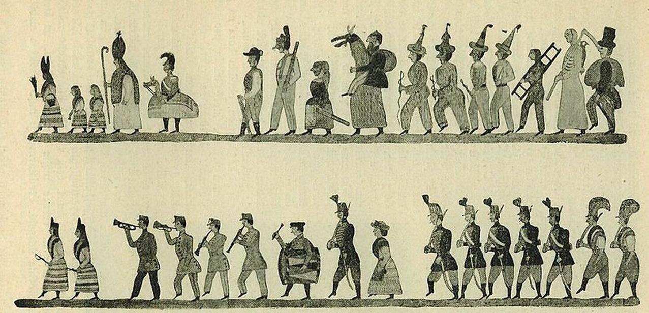 Maškary, husar, koník, žid na klapačce v průvodu Mikulášském ve Sloupnici před 70 lety. Kreslil Jan Doubrava ze Sloupnice Horní (rok 1910)