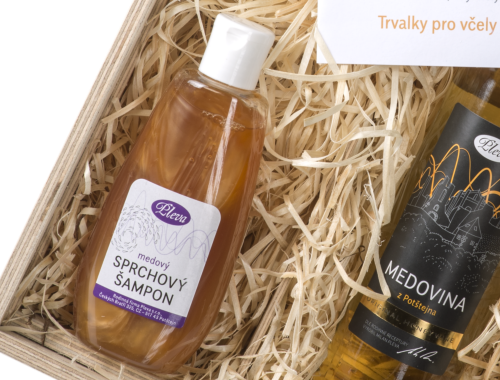 dárková sada medová krabice, medový sprchový šampon, sprchový šampon s medem