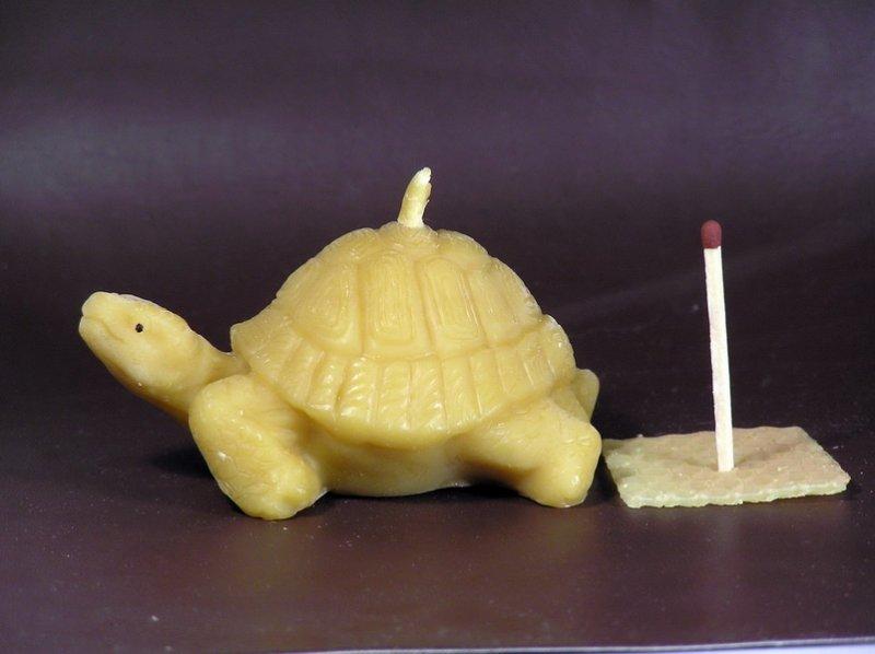 Pleva Svíčka ze včelího vosku - želva velká, délka 8 cm výška 4,2 cm
