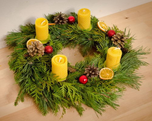 sada pro vánoční tvoření, adventní svíčky ze včelího vosku na výrobu adventního věnce Pleva