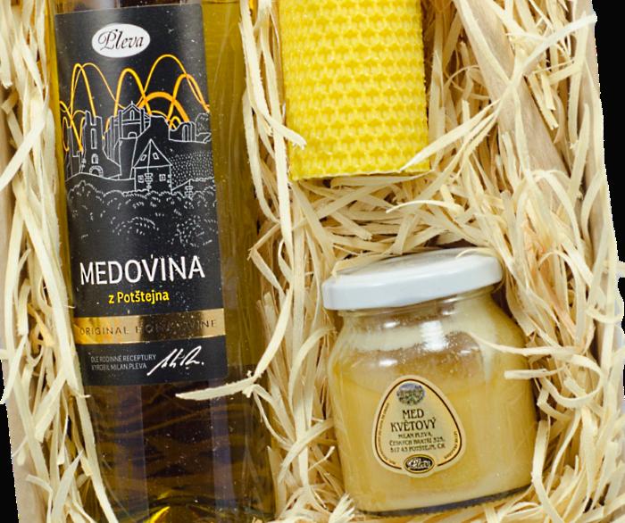 dárková sada, medovina z Potštejna, potštejnská medovina, med květový pastovaný, Pleva