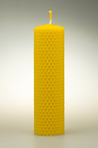 Candle from beeswax, width 40mm, height 133mm