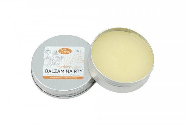 Lip balm with honey in a pot