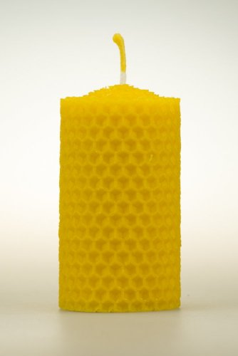 Candle from beeswax, width 40mm, height 67mm