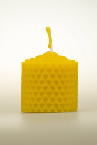 Candle from beeswax, width 40mm, height 33mm