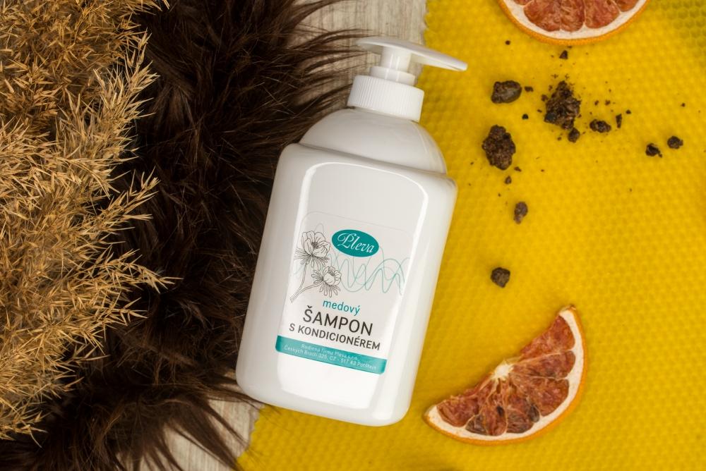 Medový šampon s kondicionérem velké 500g balení, Pleva