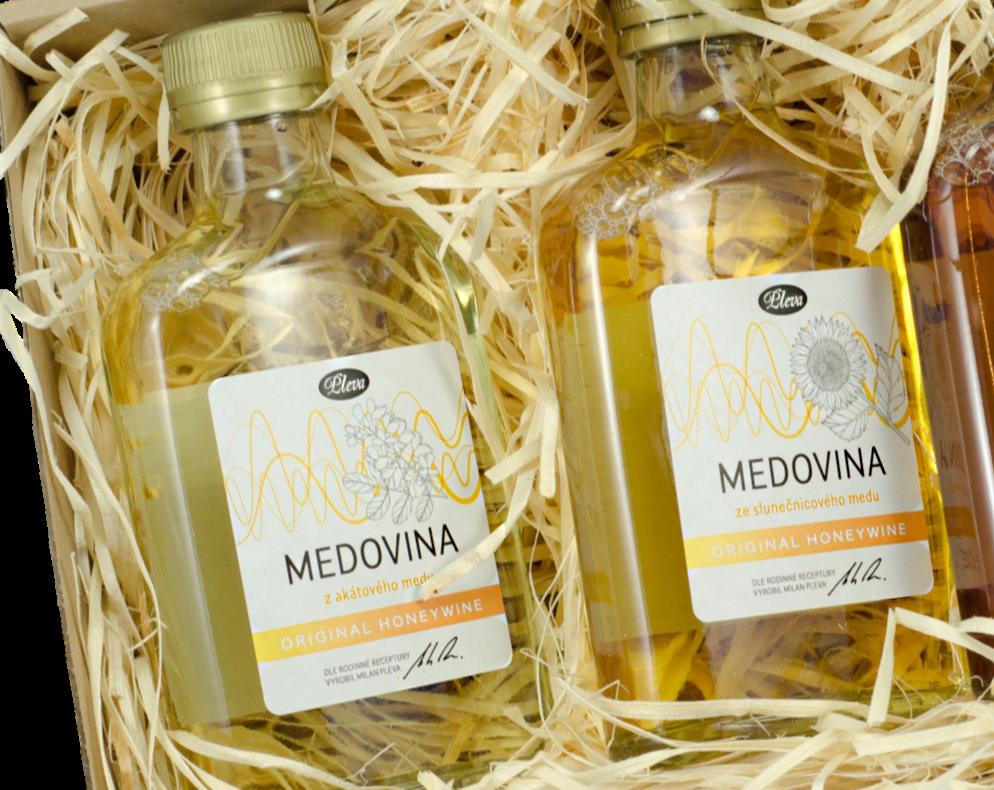dárková sada, medovina z akátového medu, medovina ze slunečnicového medu, placatice