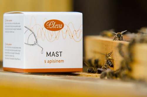 Mast s apisinem, včelím jedem , balení ve skle pleva