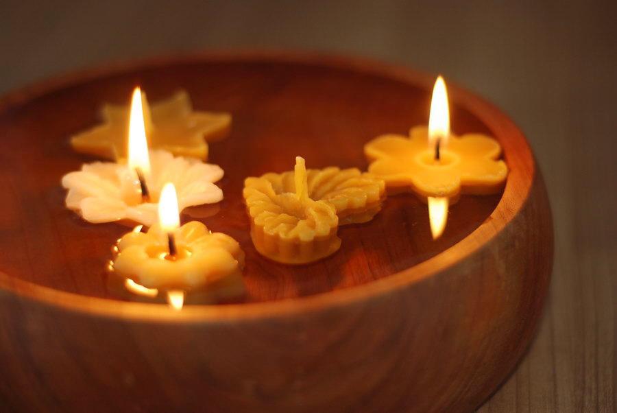 sada pro vánoční tvoření, plovoucí svíčky z vosku, vánoční pouštění svíček, pleva