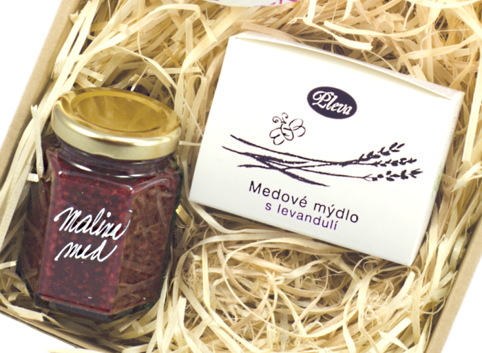dárková sada, medové mýdlo s levandulí, malinová marmeláda s medem