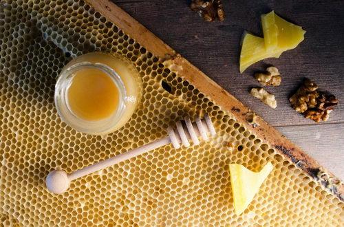 Medonoska, dřevěná naběračka medu, pleva