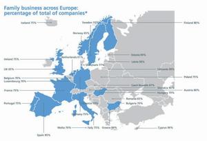 Podíl rodinných firem v EU z pohledu počtu podnikatelů