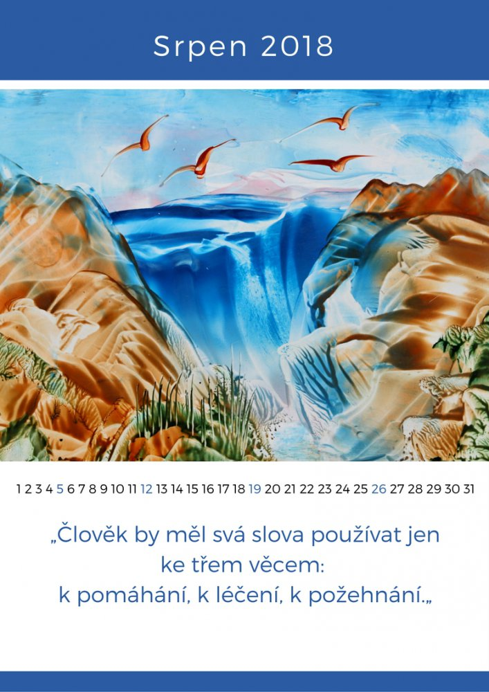 Kalendář enkaustika - srpen