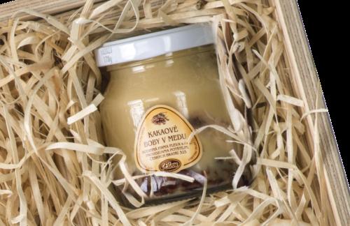 dárková sada medová krabice, kakaové boby v medu
