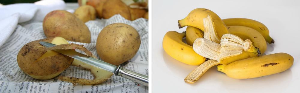 přírodní léčba bradavic, banánová slupka, syrová brambora