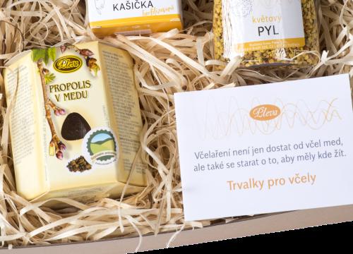 dárková kazeta, propolis v medu, regionální potravina 2020, osivo trvalky pro včely