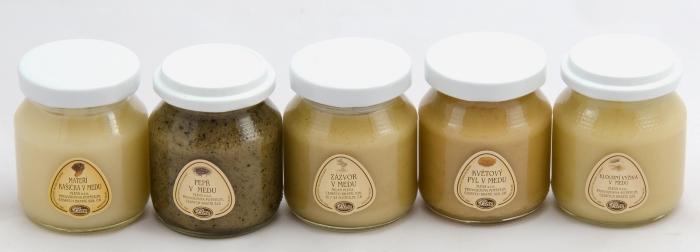 dárková sada, degustace, medy s příměsí, mateří kašička, pepř, zázvor, květový pyl, kloubní výživa