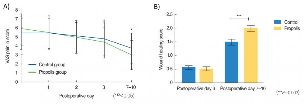 léčba a hojení ran s propolisem, výsledky studie