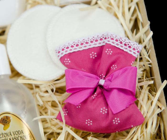 dárková sada, pytlíček s levandulí, pratelné kosmetické tampony, pleva