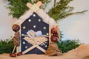 vánoční tvoření, betlém z přírodních materiálů, pleva
