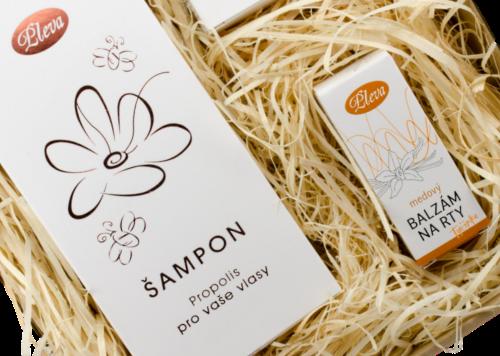přírodní péče s vůní propolisu, šampon propolis pro vaše vlasy, medový balzám na rty s příchutí vanilky